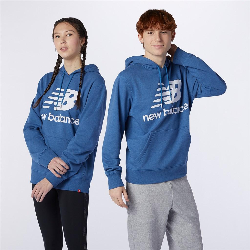New Balance - Essentials Stacked Logo PO Hoodie - oxygen blue heather