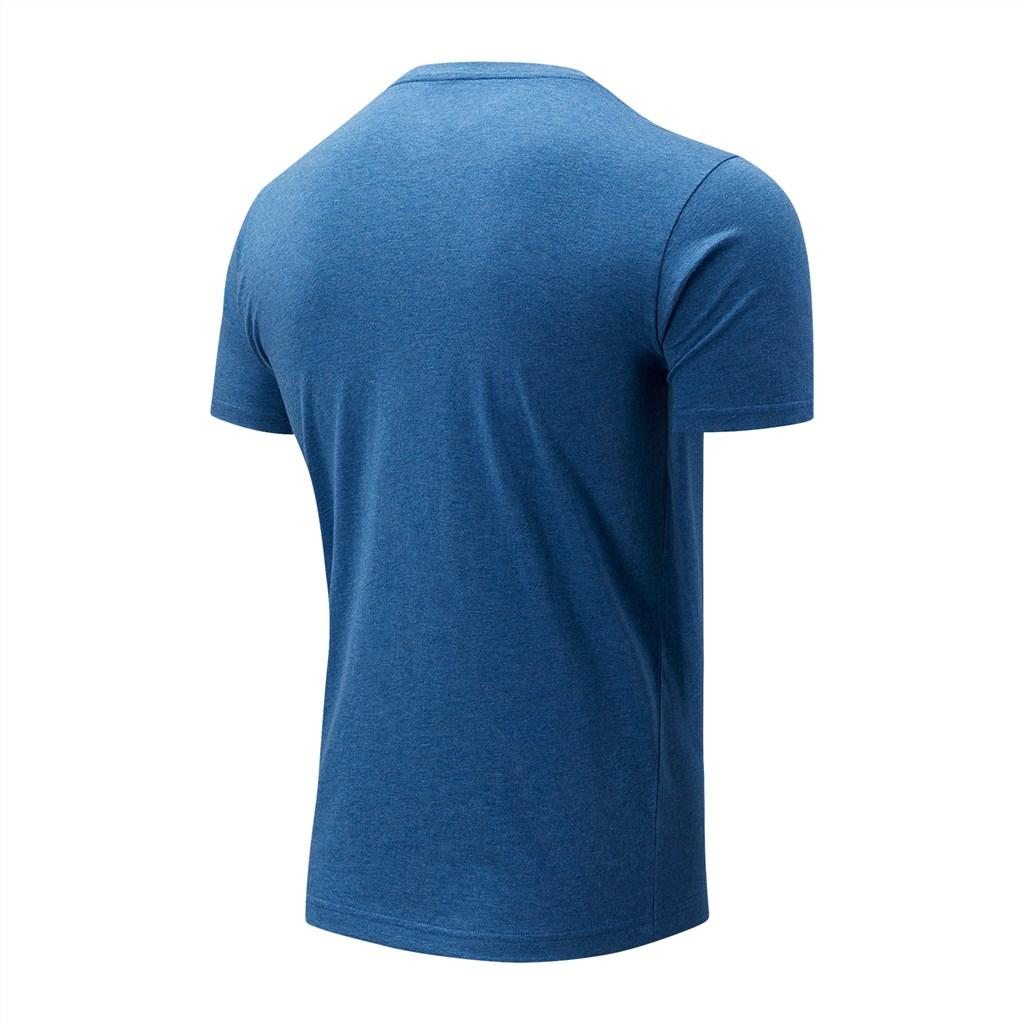 New Balance - Essentials Stacked Logo Tee - oxygen blue heather