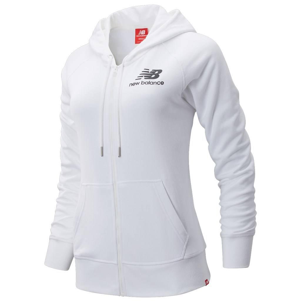 New Balance - W Essentials FZ Hoodie - white/black