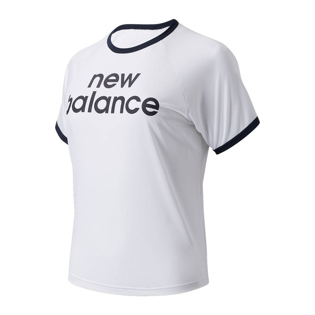 New Balance - W Achiever Graphic High Low Tee - munsell white