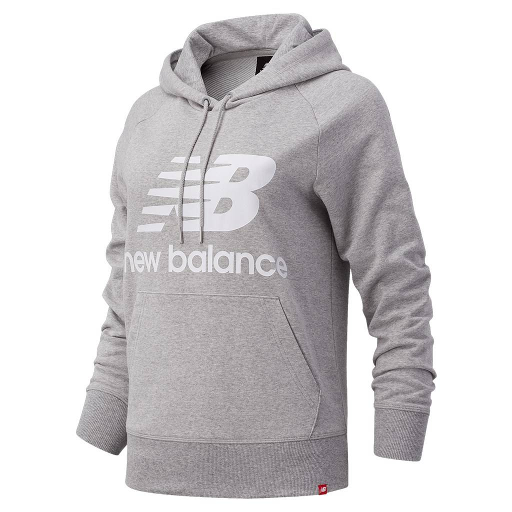New Balance - W Essentials Stacked Logo PO Hoodie - athletic grey