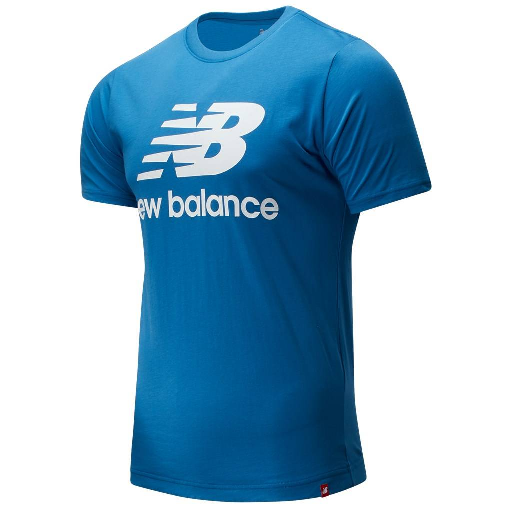New Balance - Essentials Stacked Logo T - mako blue