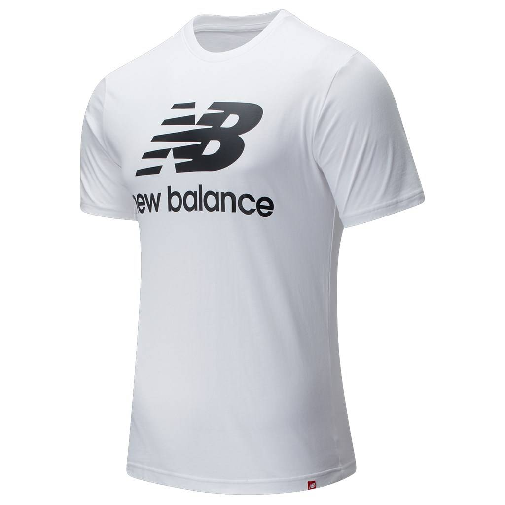New Balance - Essentials Stacked Logo T - white