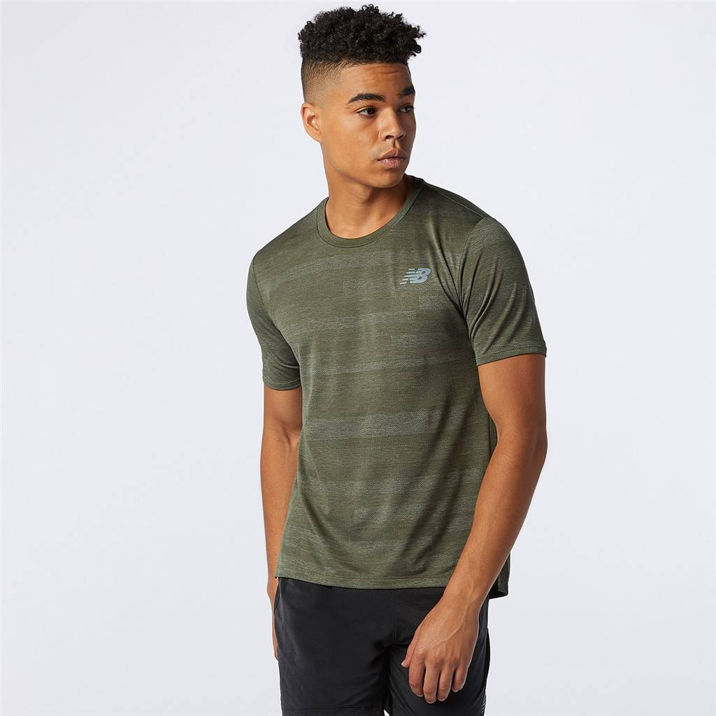 New Balance - Q Speed Fuel Jacquard Short Sleeve - oak leaf green heather