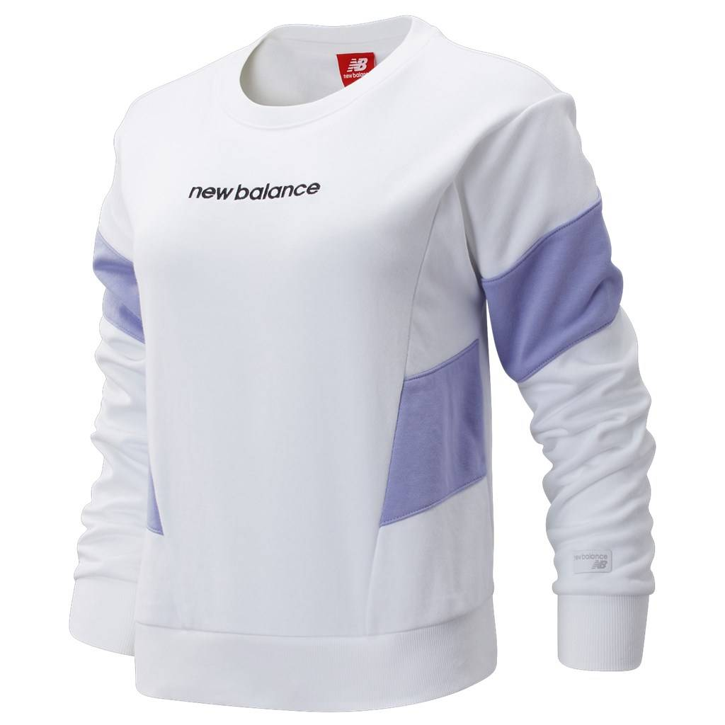 New Balance - W NB  Athletics Classic Fleece Top - white/clear amethyst