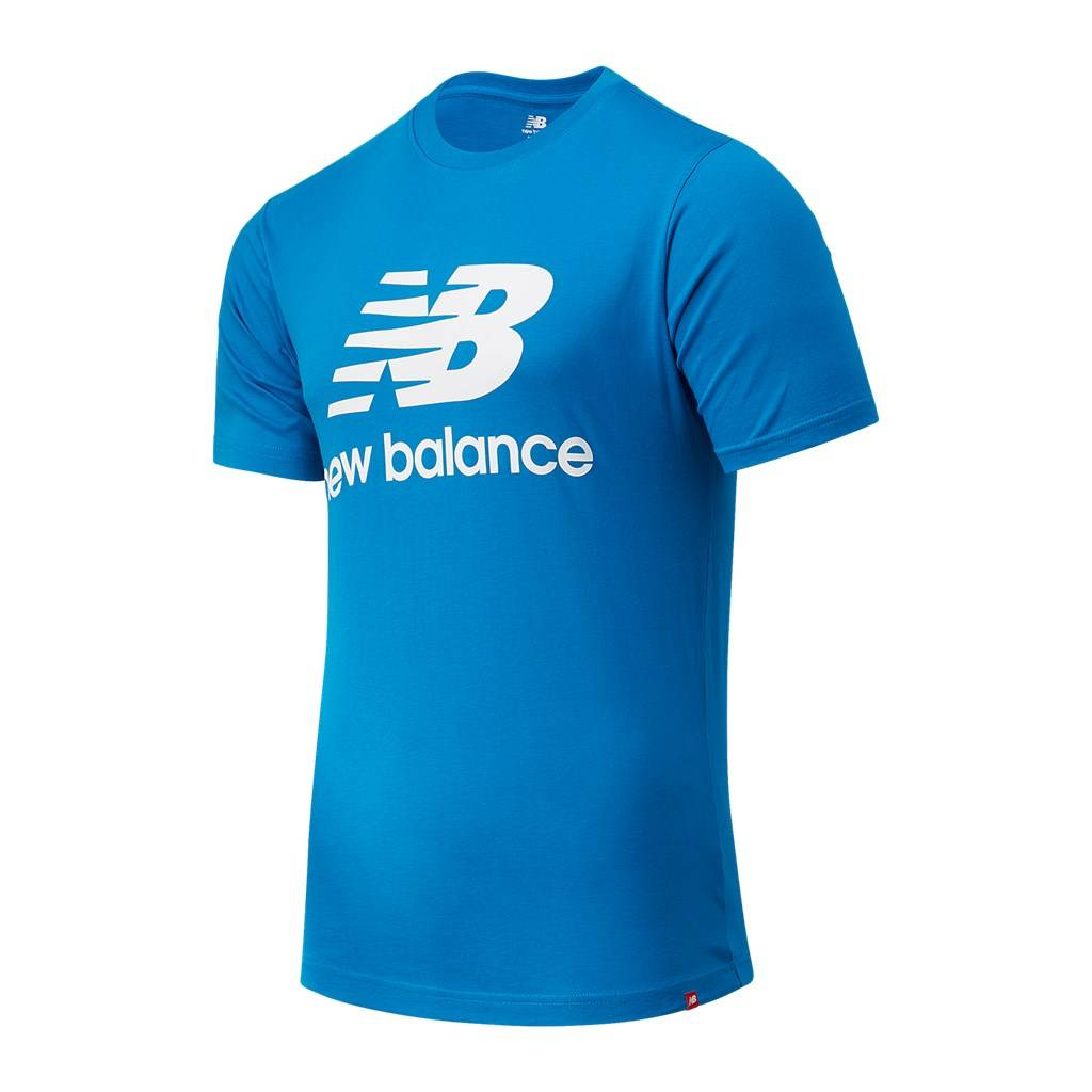 New Balance - Essentials Stacked Logo T - wave blue