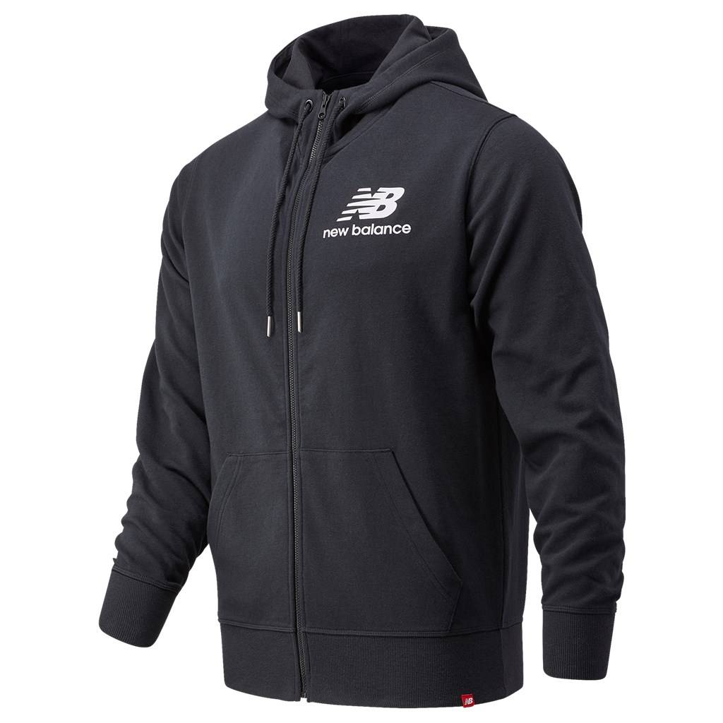 New Balance - Essentials Stacked Full Zip Hoodie - black