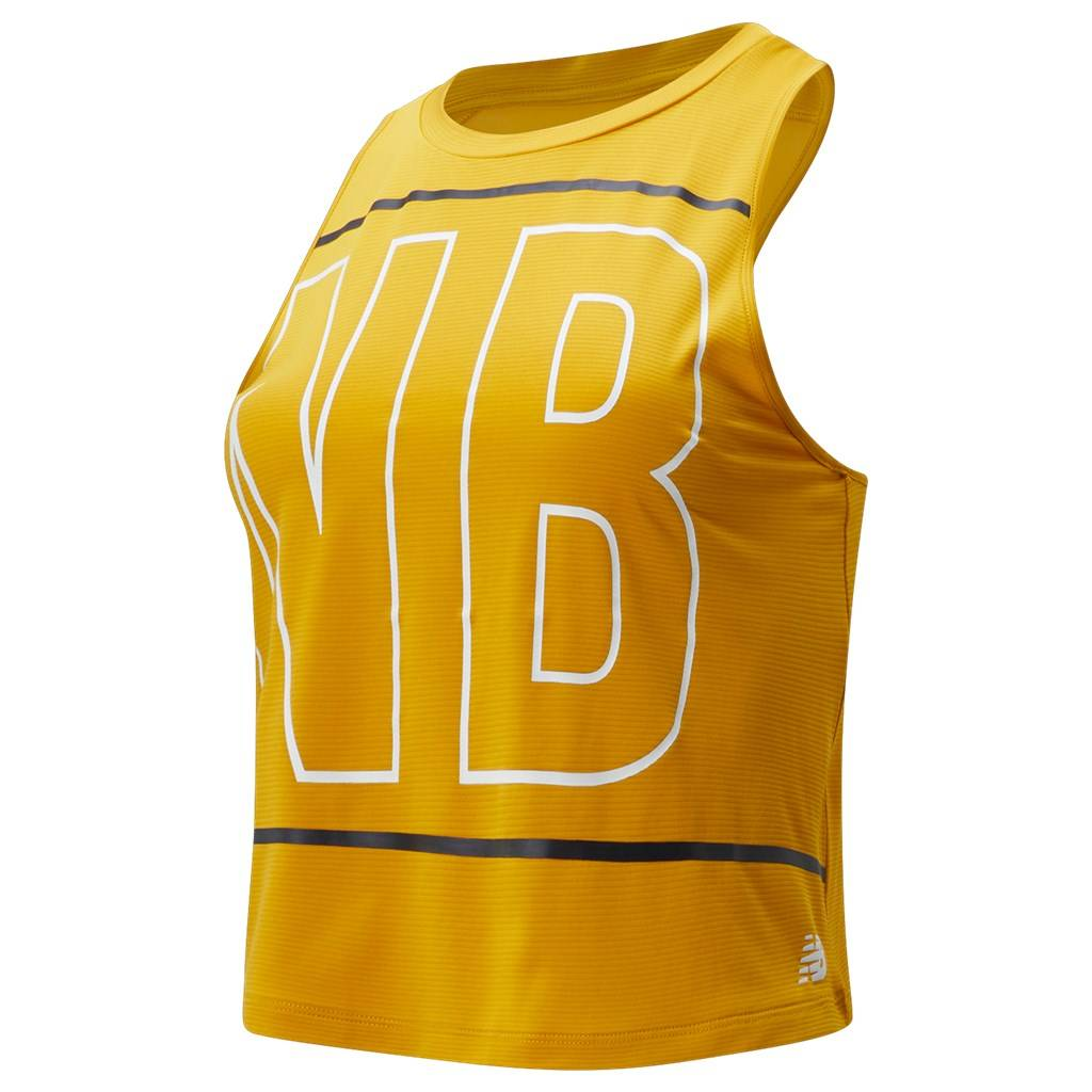 New Balance - W Printed Fast Flight Crop Tank - varsity gold