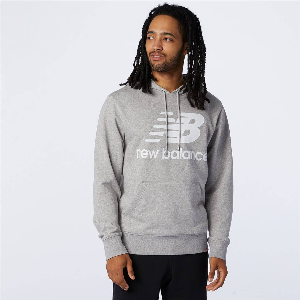 New Balance - Essentials Stacked Logo PO Hoodie - athletic grey