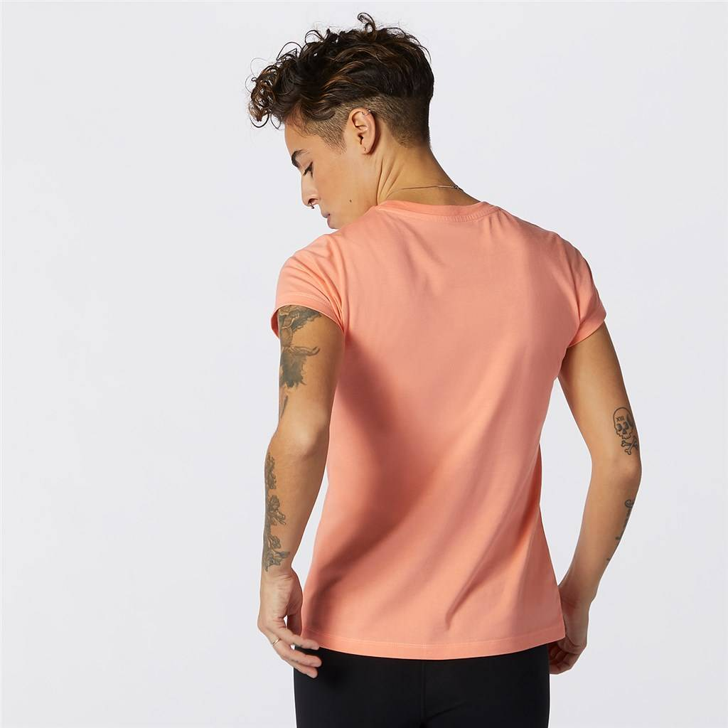 New Balance - W Essentials Stacked Logo Tee - paradise pink