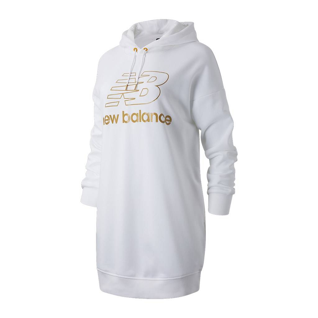 New Balance - W NB Athletics Village Hoodie Dress - white