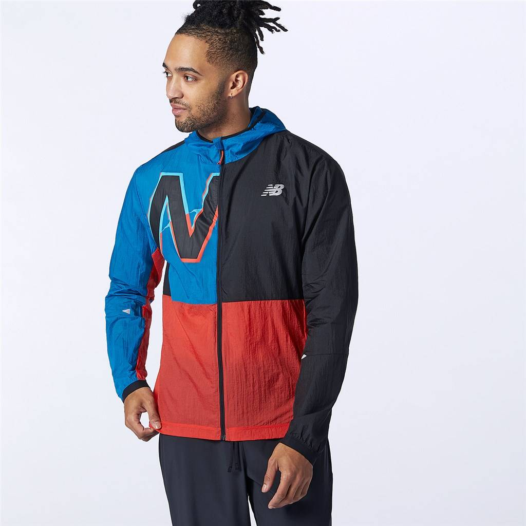 New Balance - Printed Impact Run Light Pack Jacket - black/wave blue