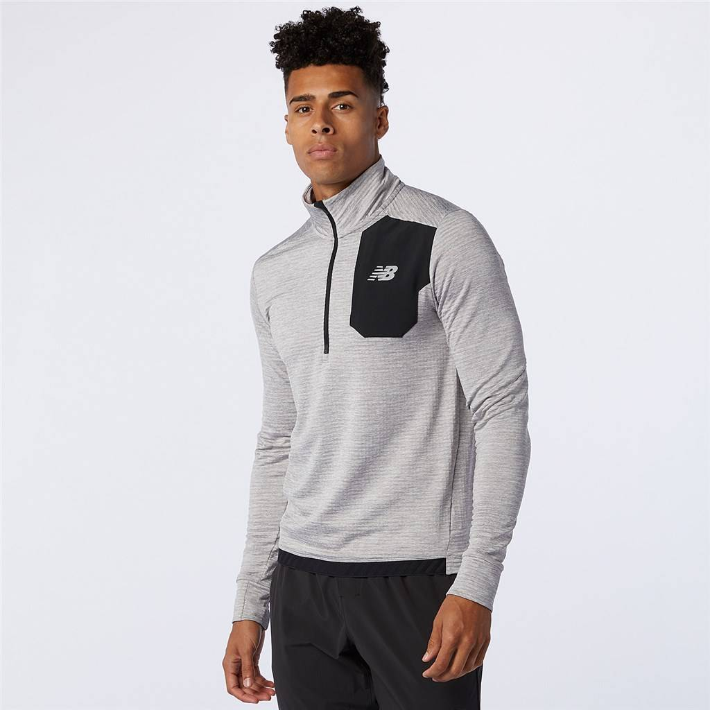 New Balance - Impact Run Grid Back Half Zip - athletic grey