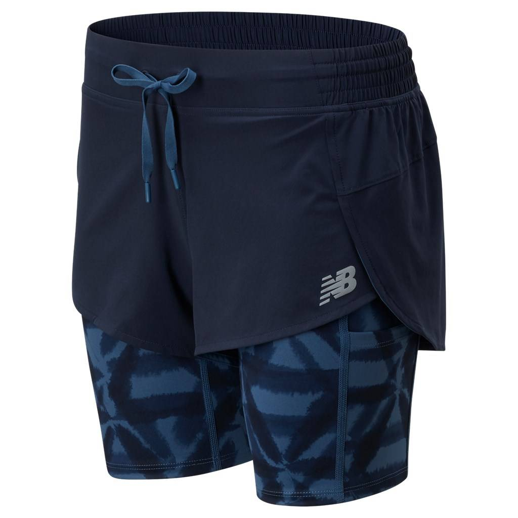 New Balance - W Printed Impact Run 2In1 Short - eclipse